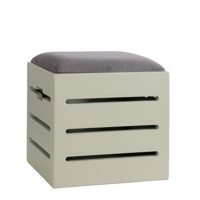 Firewood Ottoman with Plush Slate Fabric Seat