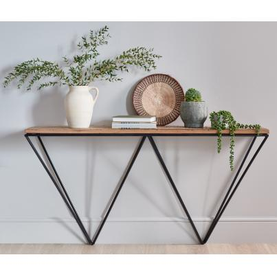 Reclaimed Wood Console Table with Metal Geometric Frame