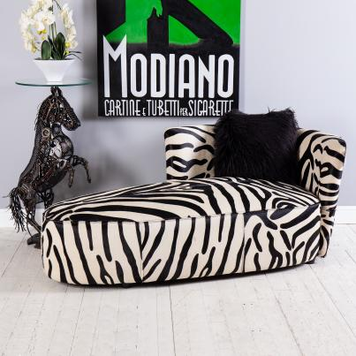 Zebra Printed Leather Chaise