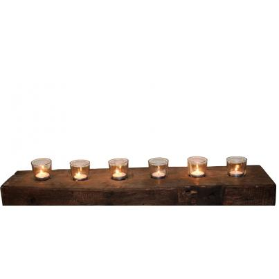 Reclaimed Teak Block 8pc Wall Candle Holder