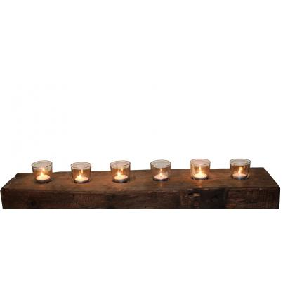Reclaimed Teak Block 6pc Wall Candle Holder