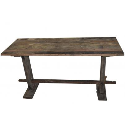 Reclaimed Teak Rustic Plank Bar Table
