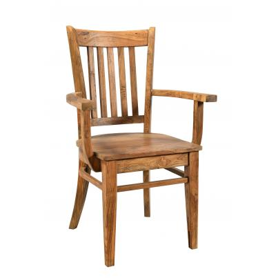 Wooden Chair With Vertical Slats and Arms