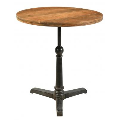 Round Iron and Reclaimed Timber Café Pedestal Table
