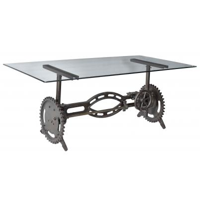 Cast Iron Industrial Dining Table Adjustable Height With Glass Top