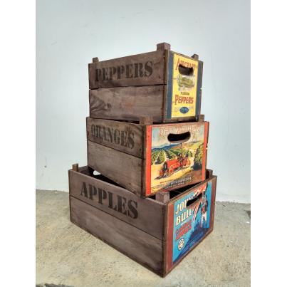 Set of 3 Apple Boxes - Aircraft Peppers - John Bull Apples - Red Winner