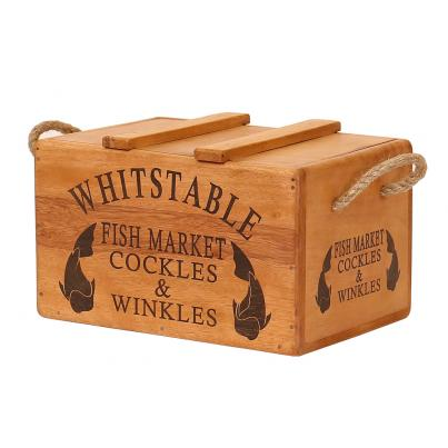 Rustic Vintage Wooden Lidded Chest Box - Whitstable Fish Market