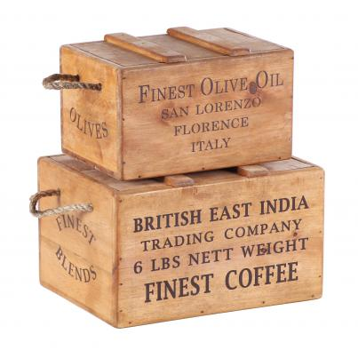 Rustic Vintage Wooden Lidded Chest Box Set of 2  India Coffee