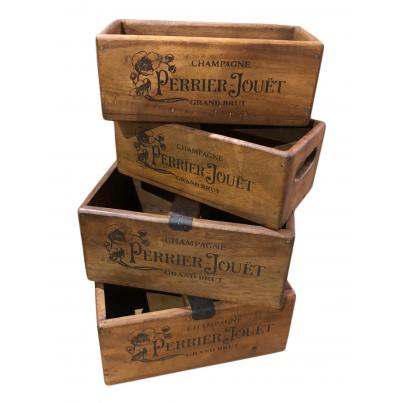 Set of 4 Rectangular Boxes -Champagne