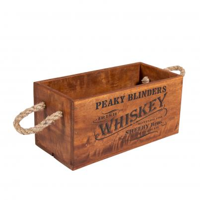 Peaky Blinders Whiskey Crate with Rope Handle for 3 Bottles