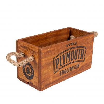 Plymouth Gin Crate with Rope Handle for 3 Bottles