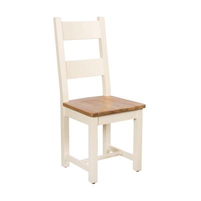 Horizontal Slats Dining Chair with Timber Seat