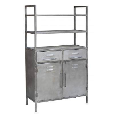Open Shelving Unit with 2 Drawers & 2 Doors