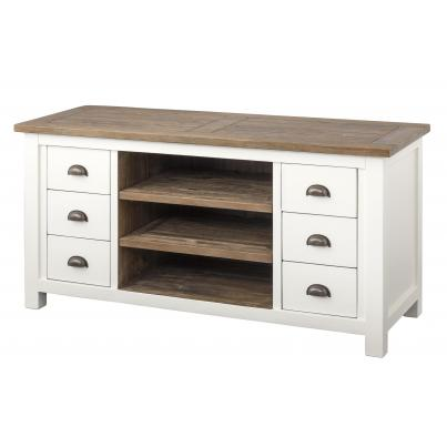 6 Drawer 2 Shelf TV Unit in Driftwood