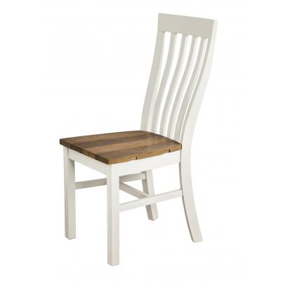 Pack of 2 - Vertical Slats Dining Chair with Timber Seat