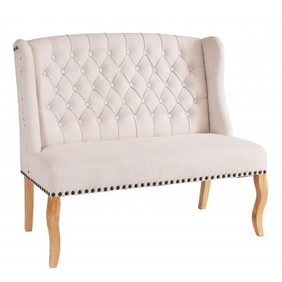 Beige 2 Seater Sofa with Studded Detail & Knocker