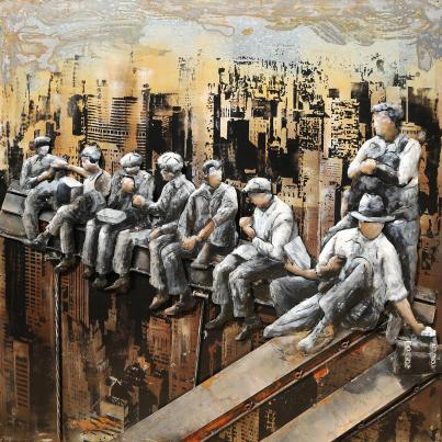 3D Metal Construction Workers In Manhattan Painting