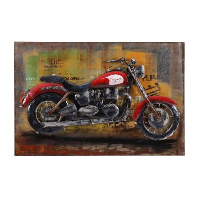 3D Red Triumph Motorbike Metal Painting