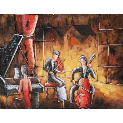 3D Metal Jazz Band Painting