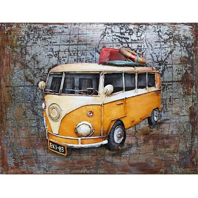 3D Metal Yellow VW Camper Painting