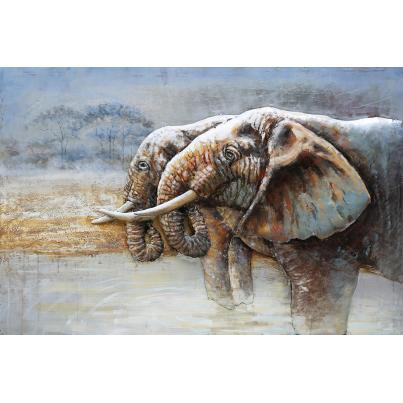 3D Metal Elephants At Peace Painting