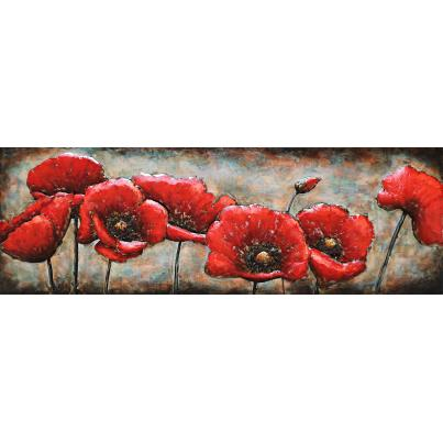 3D Metal Poppy Parade Painting