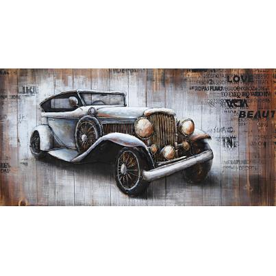 3D Metal on Wood Nostalgia Car Painting