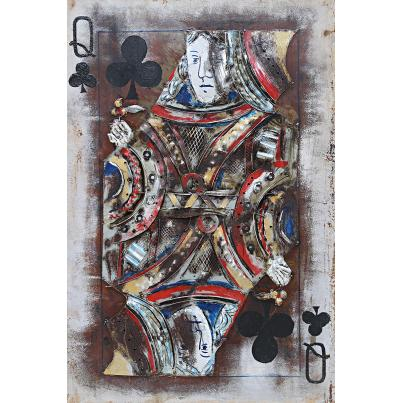 3D Metal Queen of Clubs Painting