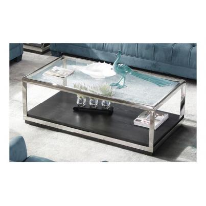 Fitzgerald Metal Frame Glass Top Coffee Table