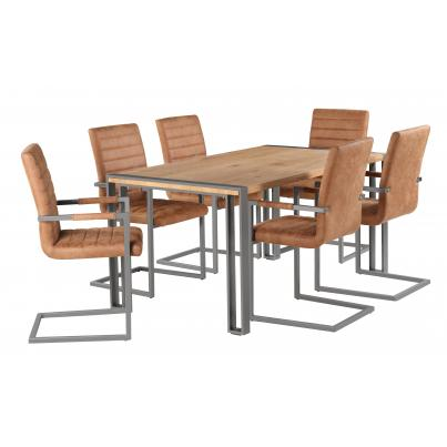 Dining Table with 6 Brown Leather Dining Chair