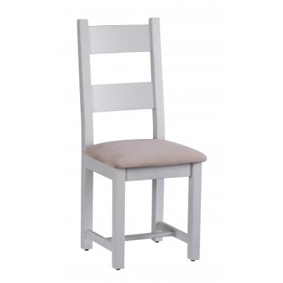 Horizontal Slats Dining Chair with Plush Asphalt Fabric Seat