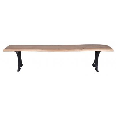 Live-edge Natural Acacia Bench Table- Cast Iron Base 2m
