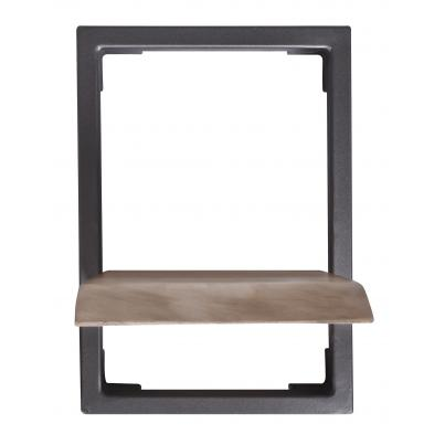 Industrial Style Iron And Wood Framed Shelf Single
