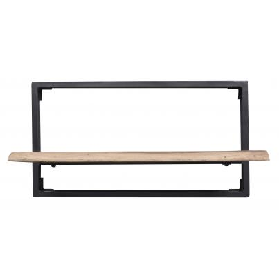 Industrial Style Iron And Wood Framed Shelf Double