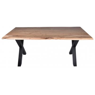 Live-edge Solid Acacia Cross Leg Dining Table 1.8m