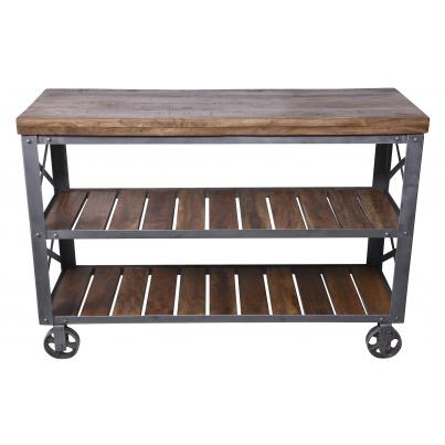 Industrial Iron and Wood Console Table on Wheels With Shelves