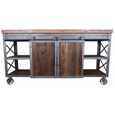 Industrial Iron and Wood Sideboard With Sliding Barn Doors