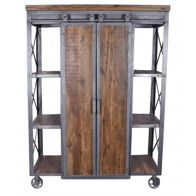 Industrial Iron and Wood Shelving Unit With Sliding Barn Doors