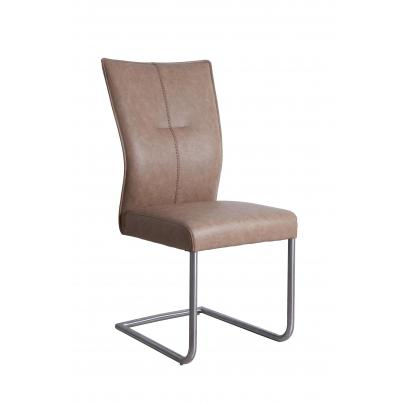 PU Dining Chair In Beige With Brushed Steel Frame