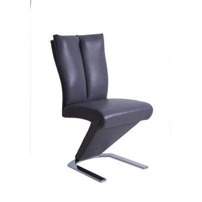PU Padded Dining Chair In Mid Grey With Chrome Base