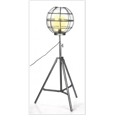 Upcycled Floor Lamp With Round Cage