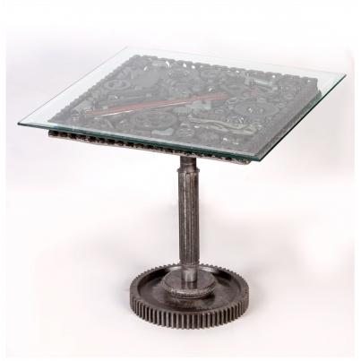 Glass Top Cogged Coffee Table