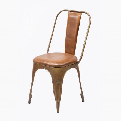 Industrial Metal Chair with Padded Brown Leather Seat