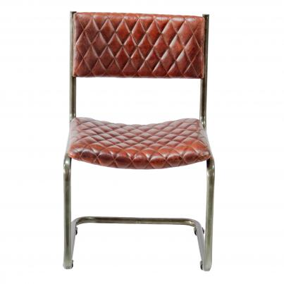 Metal Frame Chair with Padded Brown Seat