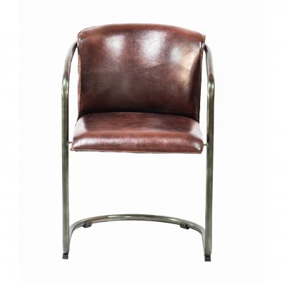 Industrial Metal Frame Chair with Leather Bucket Seat