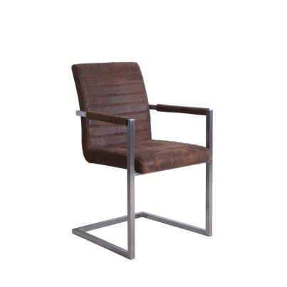 Pack of 2 - Brown Suedette Dining Chair With Square Brushed Steel Frame