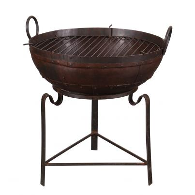 Rustic Iron Karahi Fire Bowl with Base