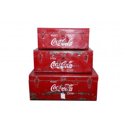 Set Of 3 Metal Coca Cola Boxes