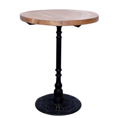 Round Iron and Wood Table Small
