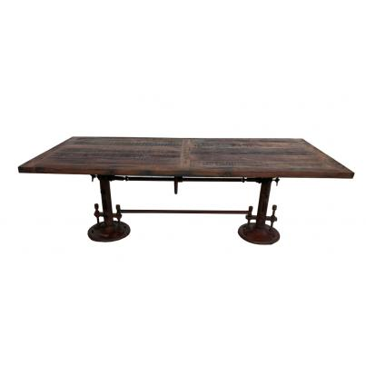 Reclaimed Wood Metal Adjustable Dining Table